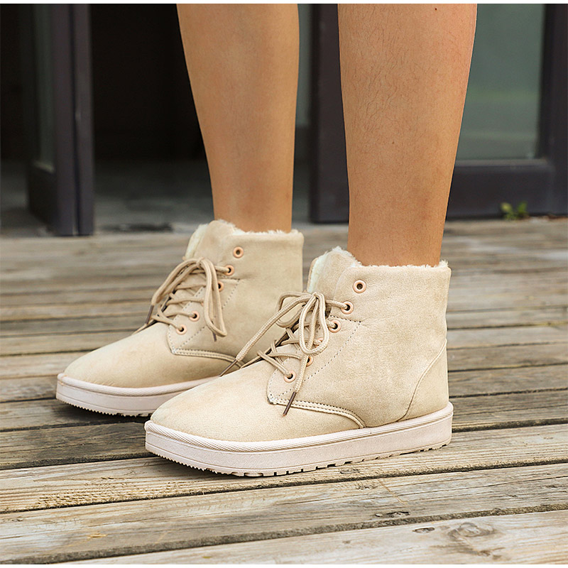 Women Flock Fur Flat Lace Up Winter Snow Suede Ankle Boots Female 31