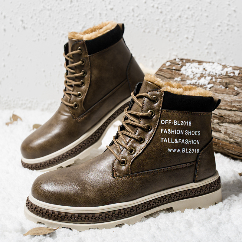 Winter Boots Men with Fur Warm Fleeces Leather Shoes High Lace-up Snow Boots Platform Cotton Footwear Retro Design Anti-skid