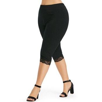 Модные леггинсы размера плюс с кружевными вставками, женские штаны, летние Однотонные эластичные узкие брюки с высокой талией, брюки, женск...