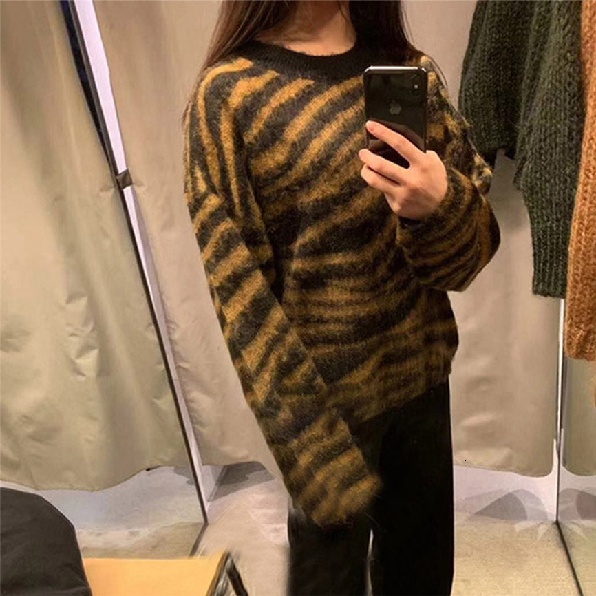 Knitted Sweater Pullovers Womens O-neck Sweater Casual Print Loose Long Sleeve Tops Slim Fit Pullover Female Soft Bottom Jumper