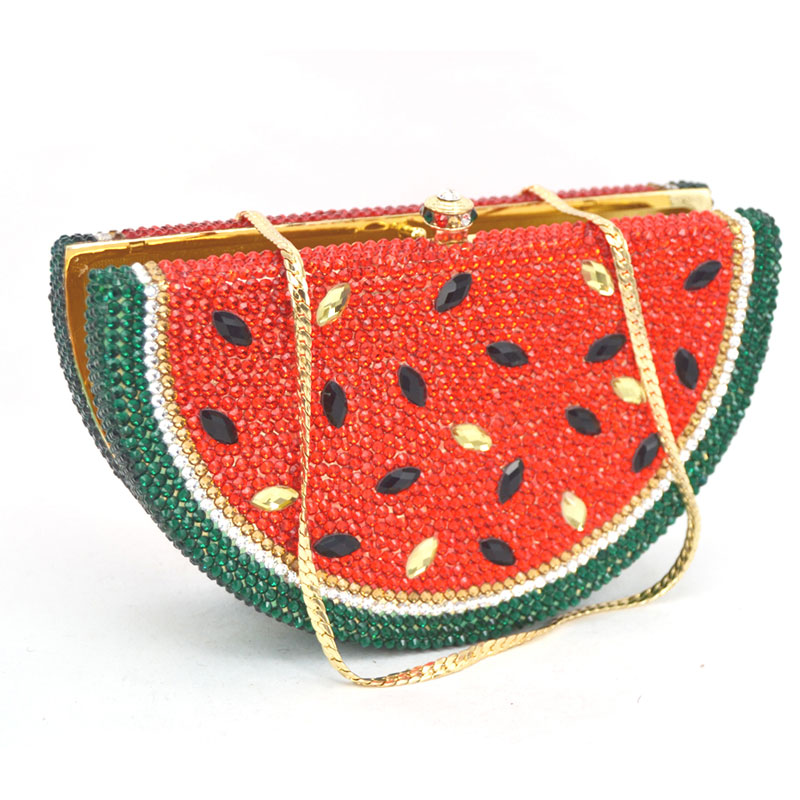 Boutique Watermelon Pattern Crystal Evening Bag Clutch Wedding Party Handbags Metal Small Casual Clutches Bag Cocktail Purse