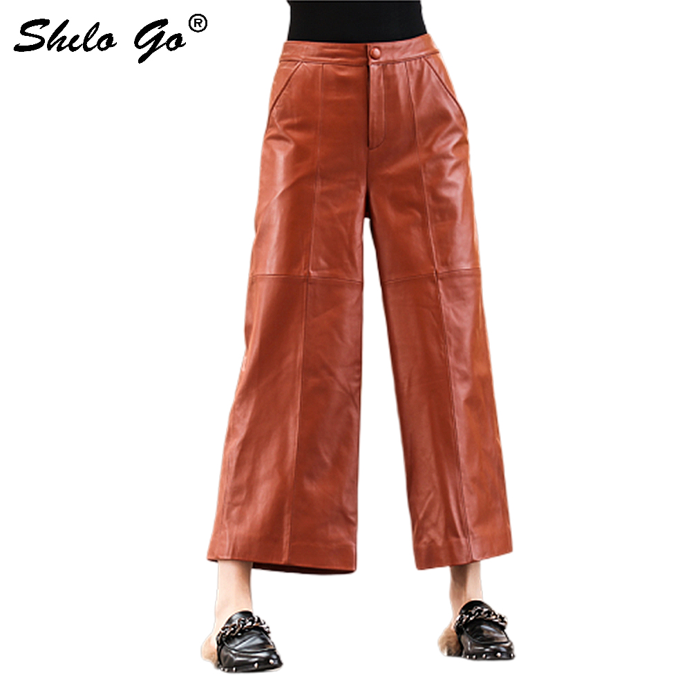 Genuine Leather Pants Button Front High Waist Solid Long Pants Women Trousers Office Lady Autumn Elegant Workwear Wide Leg Pants