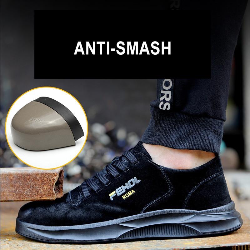 Manlegu Work Boots Indestructible Shoes Men Breathable Steel Toe  Indestructible Sneakers Men Safety Shoes Leather Work Boots