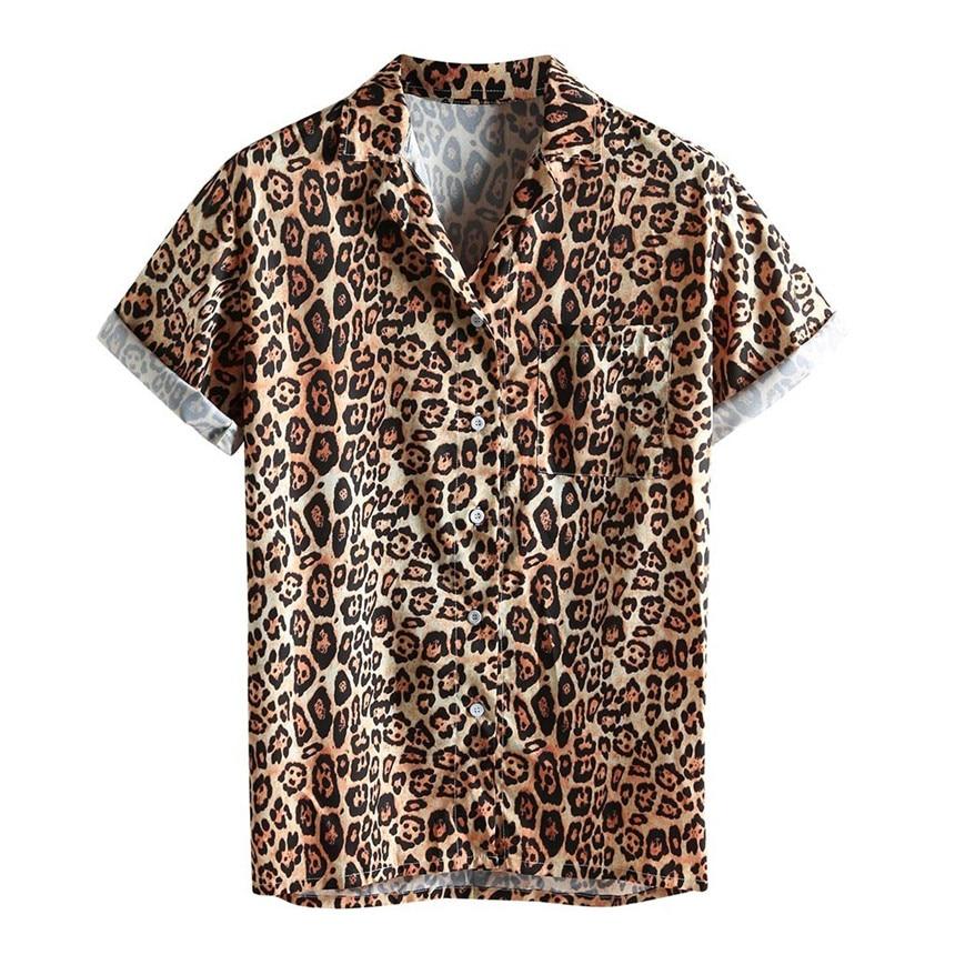 KLV Men's Shirt Cotton Linen Printed Turn Down Collar Short Sleeve Loose Casual Shirt Top Leopard Shirt Plus Size S-3XL