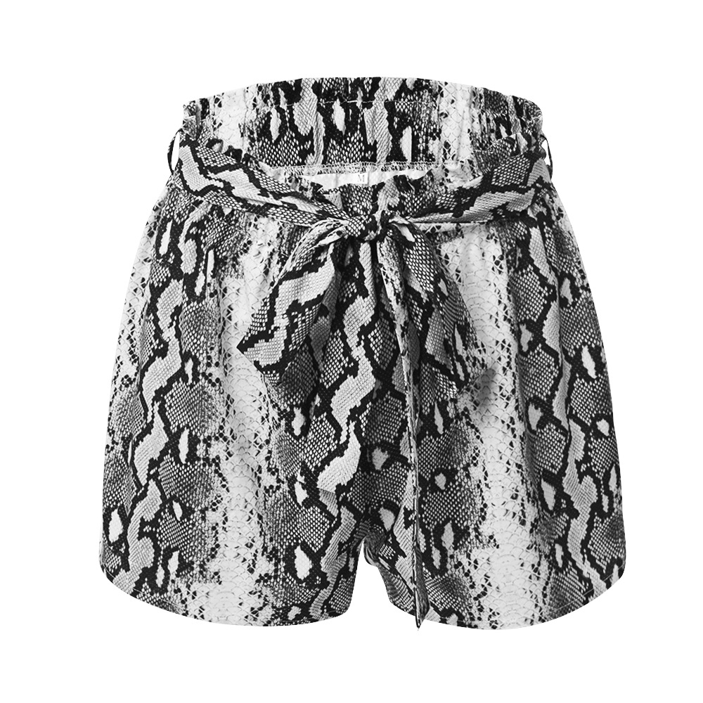 Women Snakeskin Print Yoga Casual Shorts Lace Belt Stripe Loose Shorts Summer