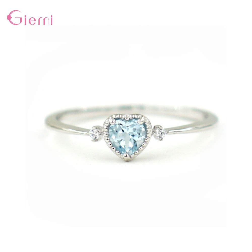 Creative Cubic Zircon 925 Sterling Silver Heart Ring For Women Fashion Korean Engagement Hand Jewelry Promise Wedding Rings