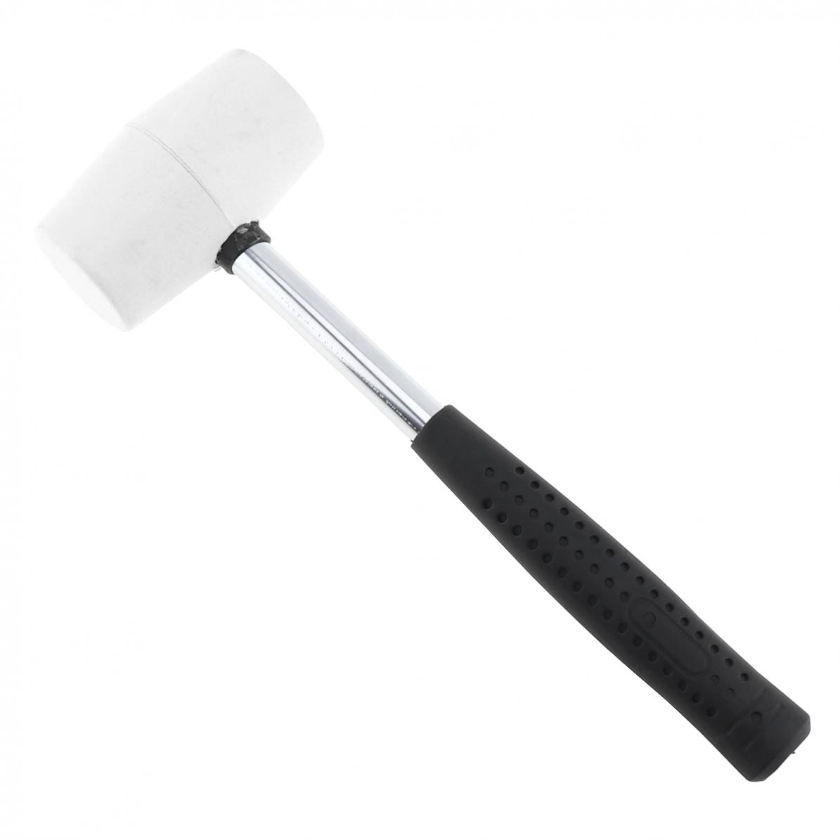 Non-elastic Hammer White Rubber Hammer Mounting hammer with Round Head and Non-slip Handle DIY Hand Tool