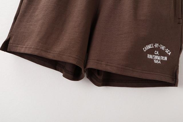 PUWD Slim Girls Soft Cotton Shorts 2021 Summer Fashion Ladies Brown Joggers Shorts Vintage Women Chic Bottoms Sweet 6