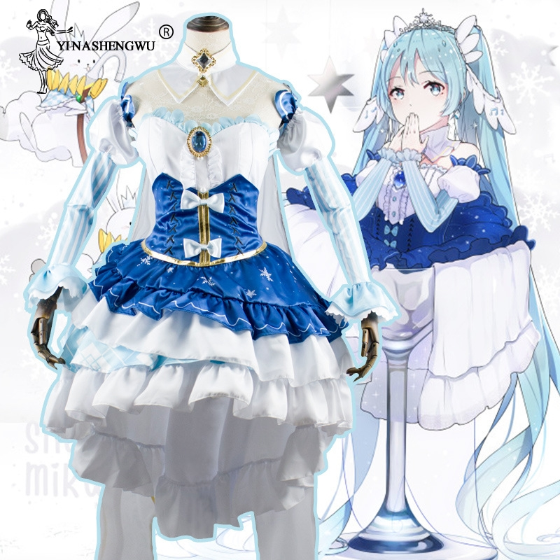 Anime Cosplay Snow Hatsune Girl Costume 2019 Snow Princess Style COS Costume Hatsune Miku Cosplay Clothing 5 Pcs Suit With Wig