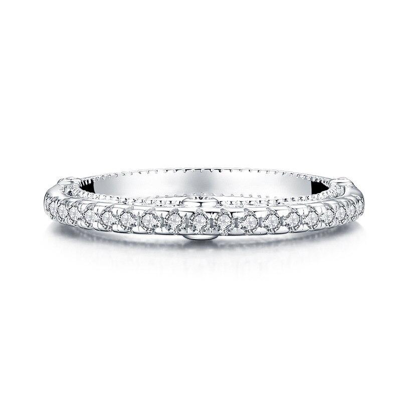 Nouveau 925 bague de fiançailles en argent sterling bague en pierre ronde - 3