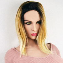 #139 Soft Silicone Sex Dolls Head Sex Girl Green eyes American European face Adult Toy Lifelike sex dolls head for sex dolls(China)