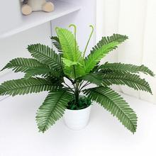 1Pc Artificial Foliage Plant Green Fern Office Home Garden Wedding Decoration Cloth Plastic Metal Wire Real Touch Feeling
