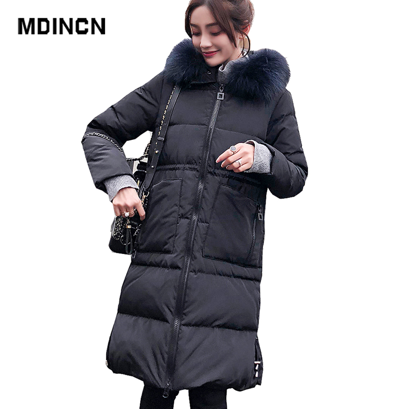 Authentic Women Long   Down   Jacket Winter Big Pocket 50% Cashmere Solid Color Thickening Real Fur Collar Warm White Duck   Down     Coat