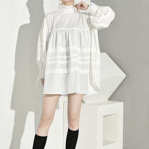 Image 5 - [EAM] 여성 주름 장식 분할 큰 크기 블라우스 새로운 스탠드 칼라 긴 소매 느슨한 맞는 셔츠 패션 봄 가을 2020 1D464