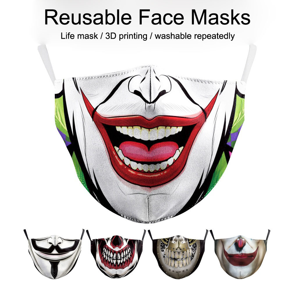 Breathable Mouth Masks Printing Funny Pattem Reusable Activated Carbon 2PCS Filter Paper Mask Face Maske Cotton Mascarillas