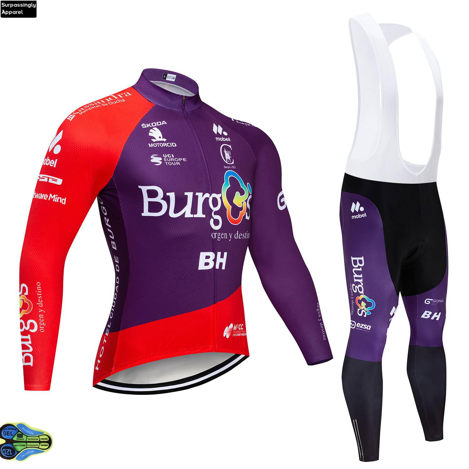 Autumn Purple Burg Team Cycling Jersey BH 2020 12D Bike Pants Set Mens Long Sleeve Ropa Ciclismo Bicycle Clothing Cycling Wear