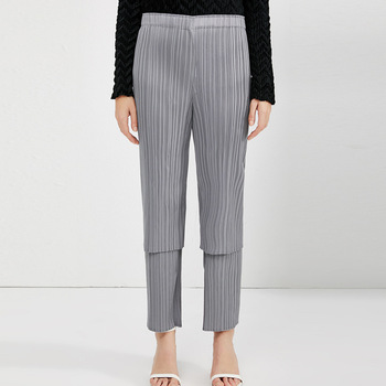 Korea 2020 New Spring Women Fashion Elastic Waist Solid Color Double Fold Pants High Street Straight Pleated Trousers PD107 фото