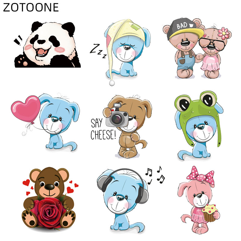 ZOTOONE-Parche con forma de oso para ropa, pegatina de corazón para transferencia de calor para niños, aplicaciones de bricolaje