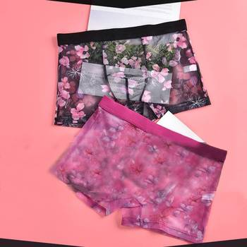 Fashion Men Sexy Flower Print Sheer Mesh Elastic Waist Home Breathable Soft Boxers Mens See Through Lace Underwear 2020