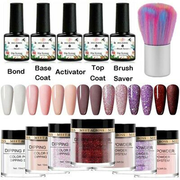 MEET ACROSS 13Pcs Dipping Nail Powder Set 10ml Dip Glitter Dust Natural Dry Without Lamp Cure Dippping System Kit