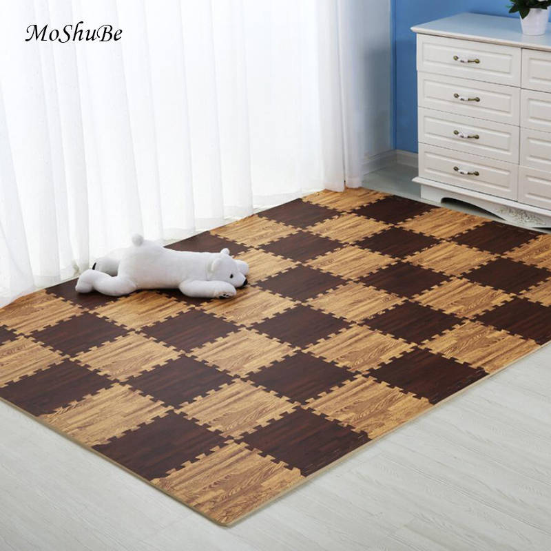 Wooden Puzzle Mat Foam 30*30*1cm Baby Play Mat Splicing Bedroom Soft Floor Interlocking Kids Rug Living Room Gym Crawling <font><b>Carpet</b></font> image