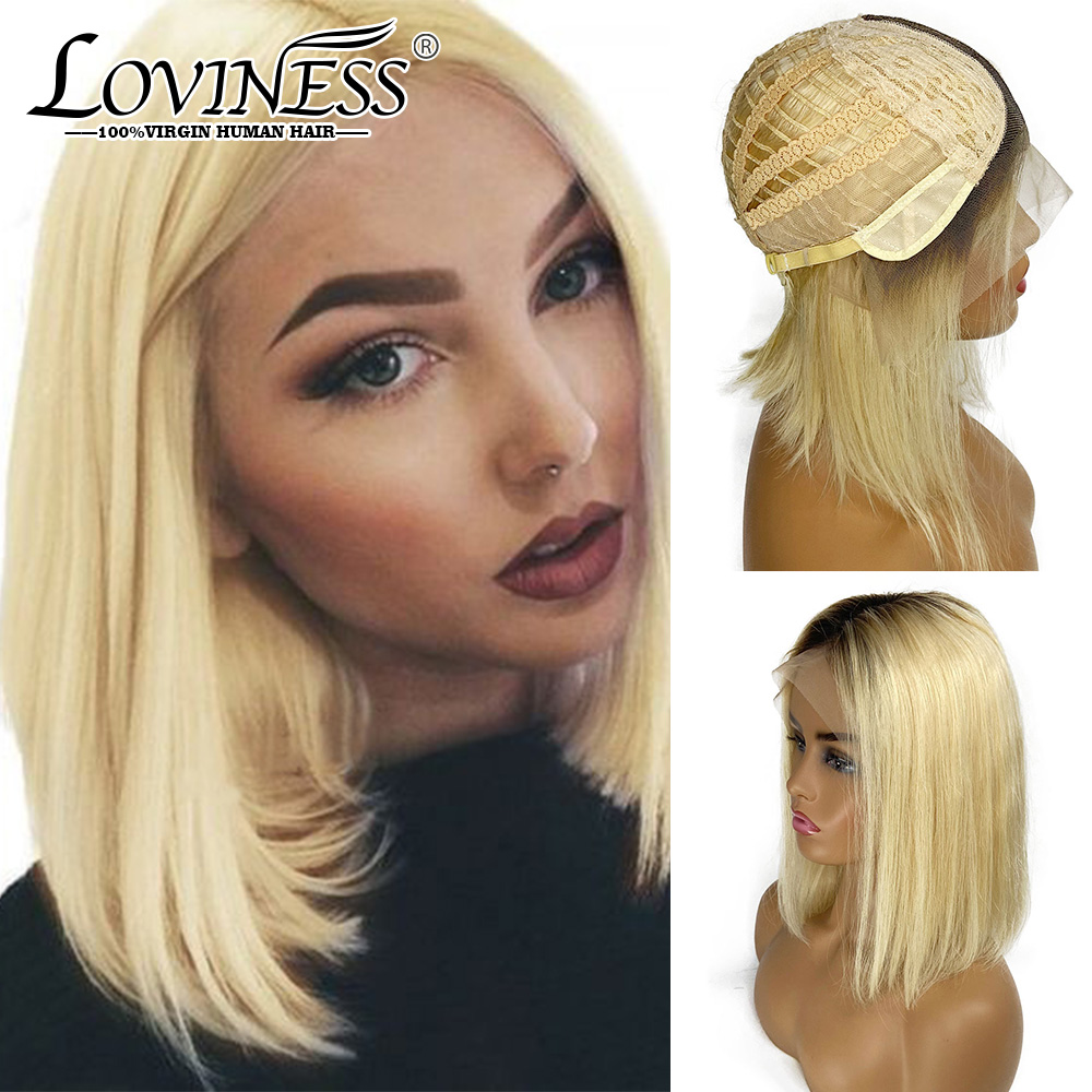 LOVINESS U Part Short Bob Fashion Cheap Wig Human Hair Closure Blonde Black Color Ombre Remy Straight Pre Plucked Hair For Women