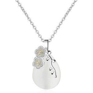 100% стерлингового серебра 925 Сладкий Природный камень опал цветок женский кулон ожерелья Продвижение ювелирные изделия для женщин короткие ...