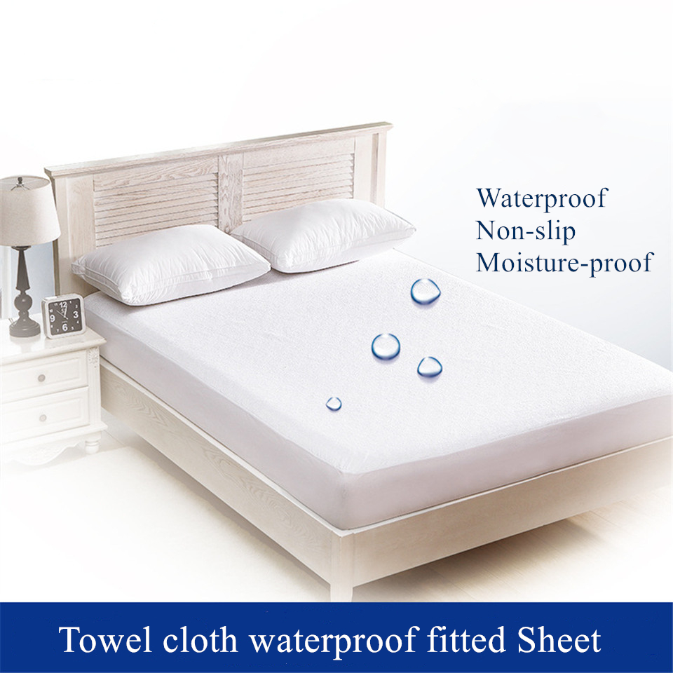 White Waterproof Bed Cover Terry Sheet Matress Cover Twin Double Size Mattress Pad Non-slip Protecter Diaphragm