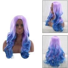 Высокая температура волокна длинные волнистые парики женщин Градиент средняя часть накладные волосы