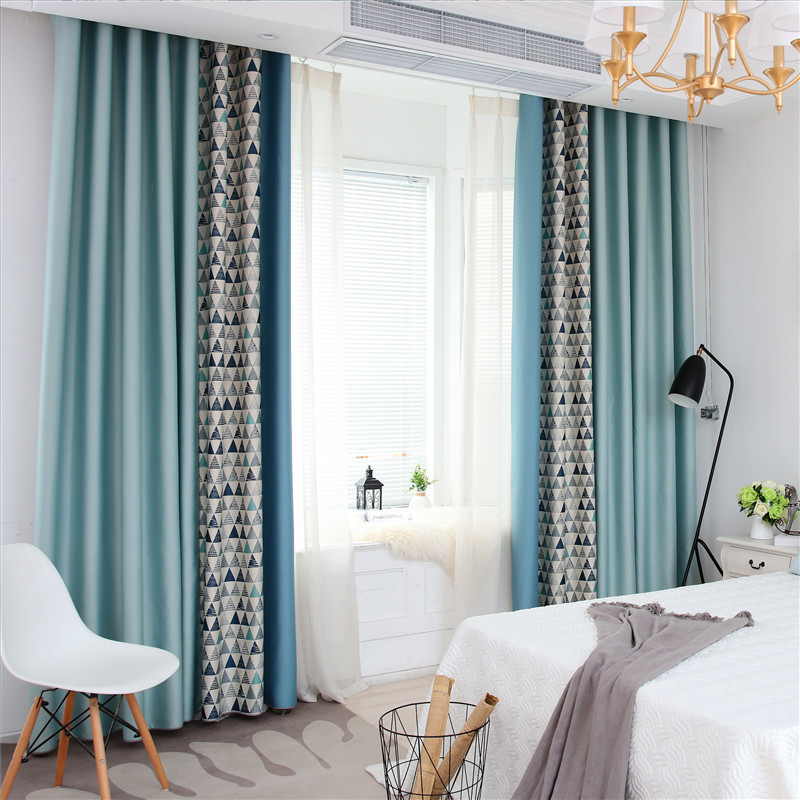 Boys Simple High Shading Nylon Curtain Curtain for Living Room Bedroom  Blue Stitching Living Room Bedroom Finished Curtain