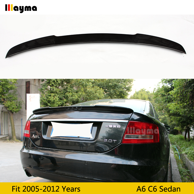 V style Carbon fiber rear trunk spoiler For Audi A6 C6 Sedan 2005 2011 year Car spoiler Wing (Not fit Sline s6 rs6)|Spoilers & Wings| |  - title=