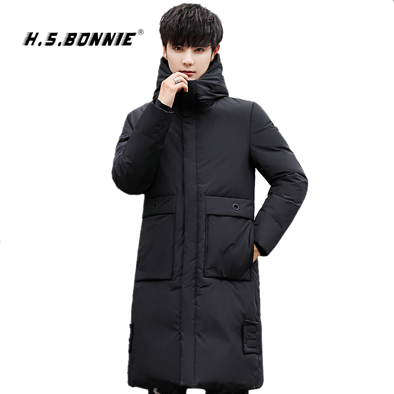 H.S.Bonnie 2019 New Fashion Men Winter Warm Down Jacket  Mens Jacket Parka Male Black Clothing Jaqueta Masculino Chaqueta Hombre