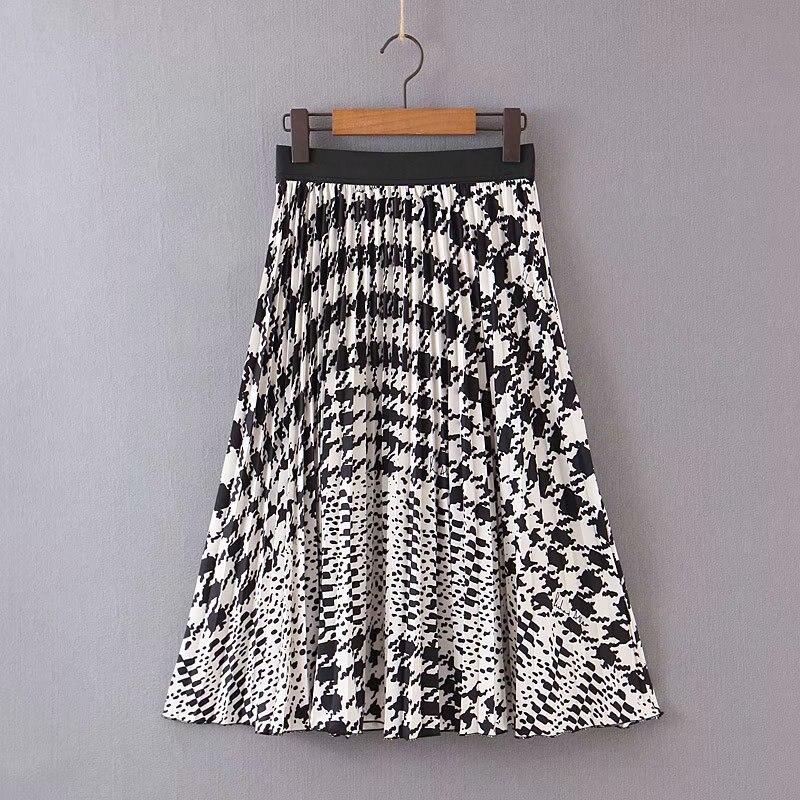 2019 New Women Vintage Elastic Waist Pleated Skirt Faldas Mujer Ladie Casual Slim Chic Brand Skirts QUN407