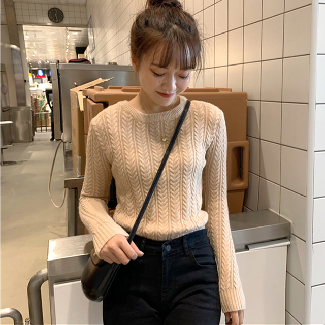 Ailegogo New 2020 Autumn Winter Women Warm Sweaters Knitting Pullovers Full Sleeve Stylish Slim Fit Top Clothing 2