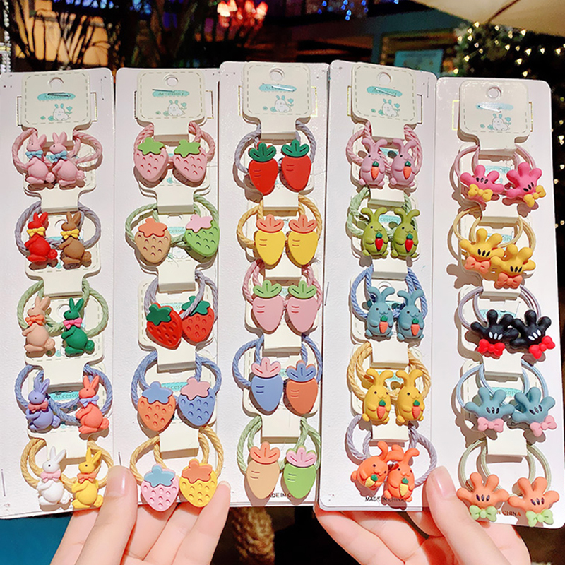 10pcs/Set Girls Cute Cartoon Flower Fruit Animal Elastic Hair Bands Sweet Headband Scrunchies Rubber Bands Kids Hair Accessories