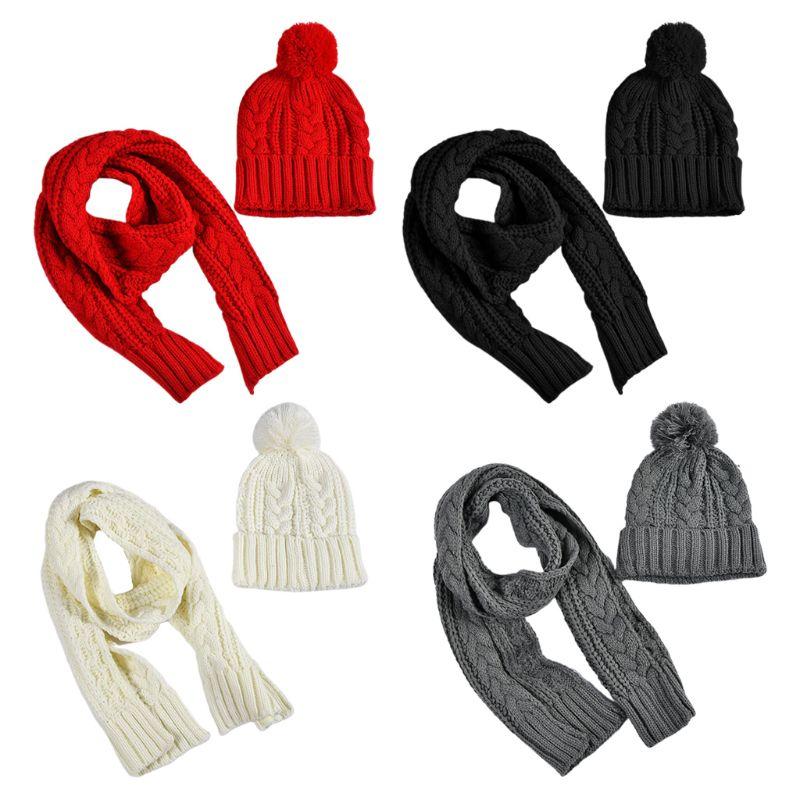 Women Winter Chunky Braided Cable Knit Hat Scarf Set Cuffed Beanie Cap Shawl