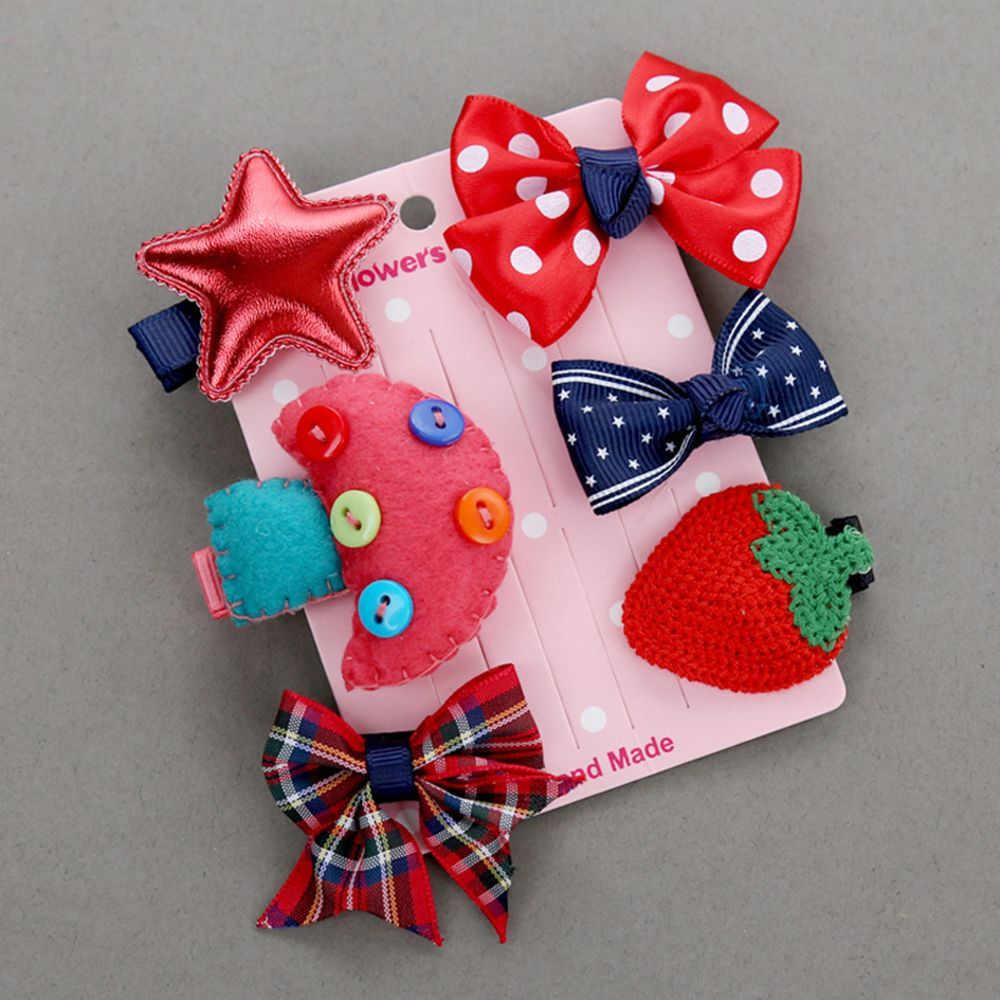 6 pcs เด็กน่ารักการ์ตูน Duckbill คลิปชุดเด็ก MINI Bowknot Star ดอกไม้มงกุฎสัตว์รูปแบบ Hairpins คลิปผม Barrettes