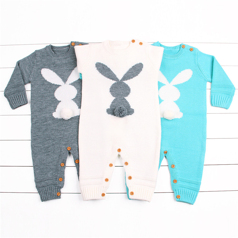 Newborns Knitted Romper Baby Boys Girls Cartoon Rabbit Plush Ball Tail Sweaters Winter Long Sleeves Warm Jumpsuit 6-24 Month A20