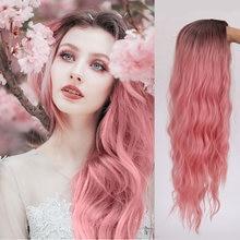 Aosi розовый парик Синтетические длинные волнистые волосы средней
