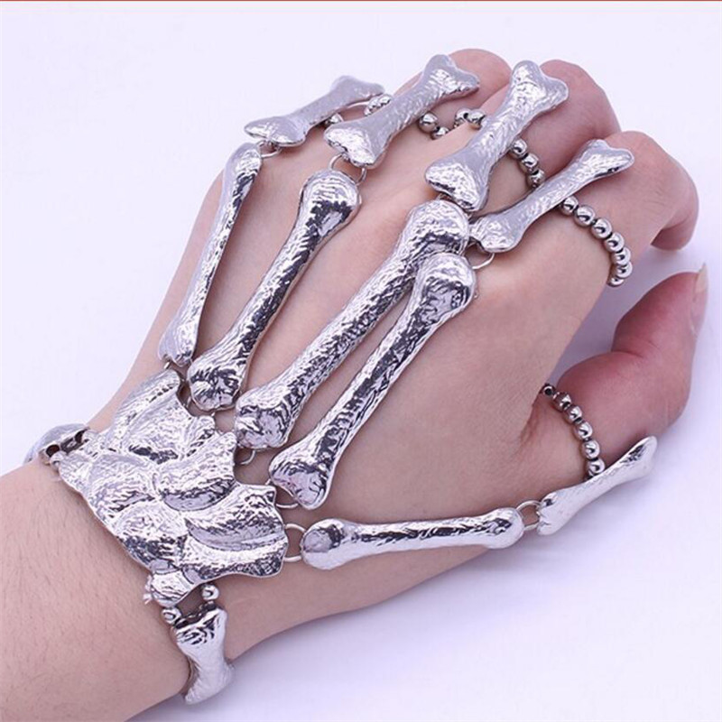 ZRM Punk Gothic Skull Bracelet Hand Bone Bangles Flexible Metal Bracelets For Women Men Nightclub Party Hip Hop Jewelry