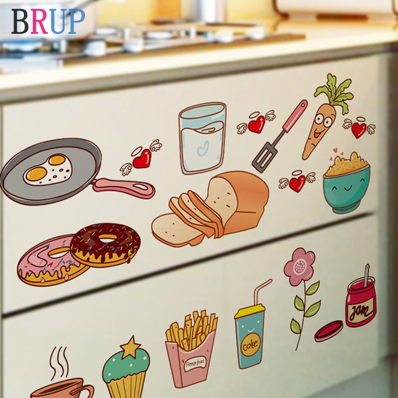 Cartoon Lovley Foods Kitchen Wall Stickers Art PVC DIY Vinyl Wall Decals Fashion Delicious Food Home Decor Waterproof Removable