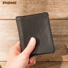 PNDME casual short genuine leather wallet men's women's fash