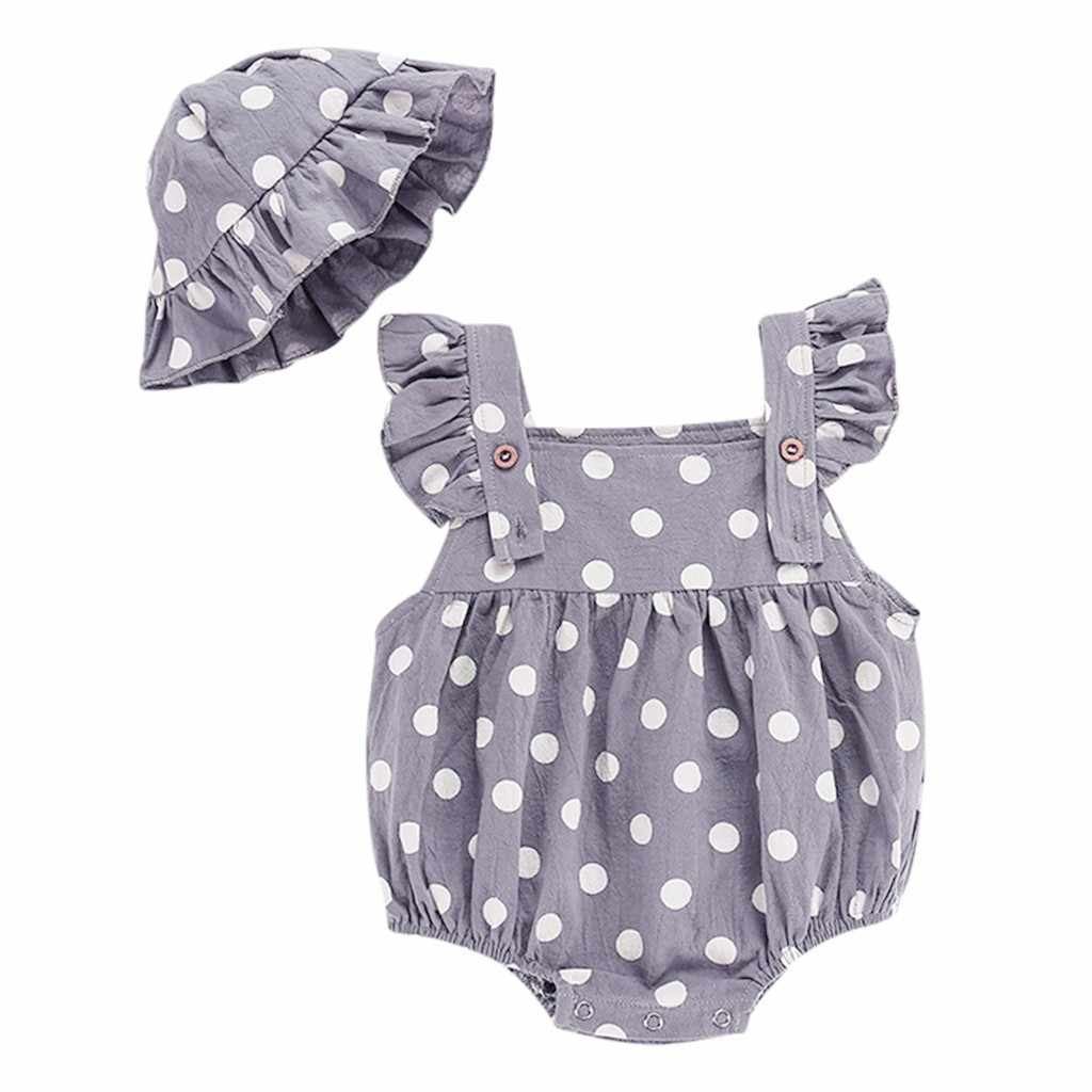 One-piece jumpsuit for baby girl boys; ruffles print bodysuit outfit; Hat; set of clothes for children 3-24 months,drop shipping