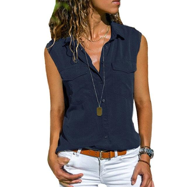 2021 Summer Casual Blouse Women Top And Blouse Women Shirt Sleeveless Button Pocket Black Solid Turn-down Collar Shirt 4
