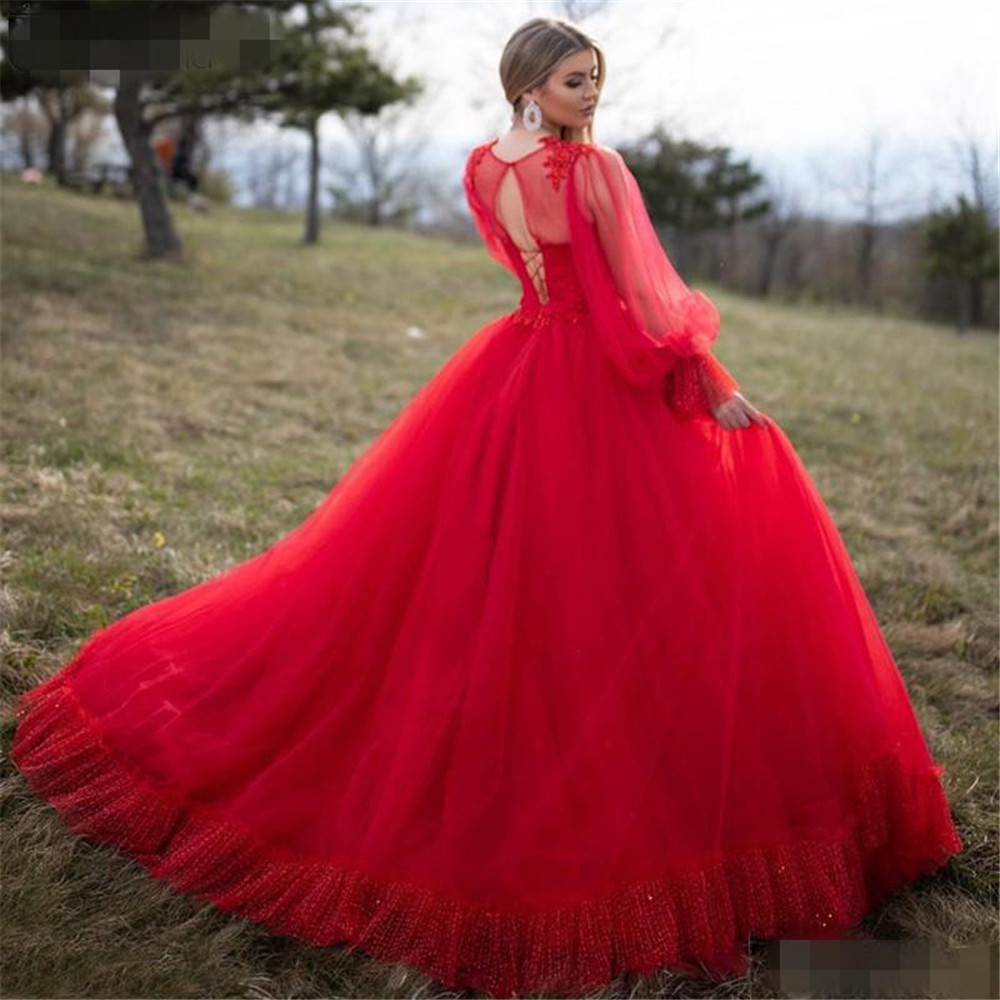 Sevintage Red Long Puff Sleeves Prom Dresses Ball Gown Soft Dotted Tulle Lace Special Occasion Dress Corset Evening Party Gowns