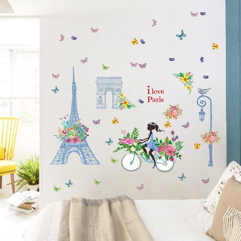 Купить синяя башня велосипедная девушка наклейка на стену романтическая
