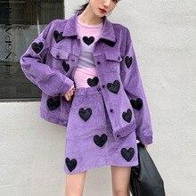 Coat Two-Piece-Sets Mini-Skirt Long-Sleeve Purple Sweet Women SHENGPALAE Pattern