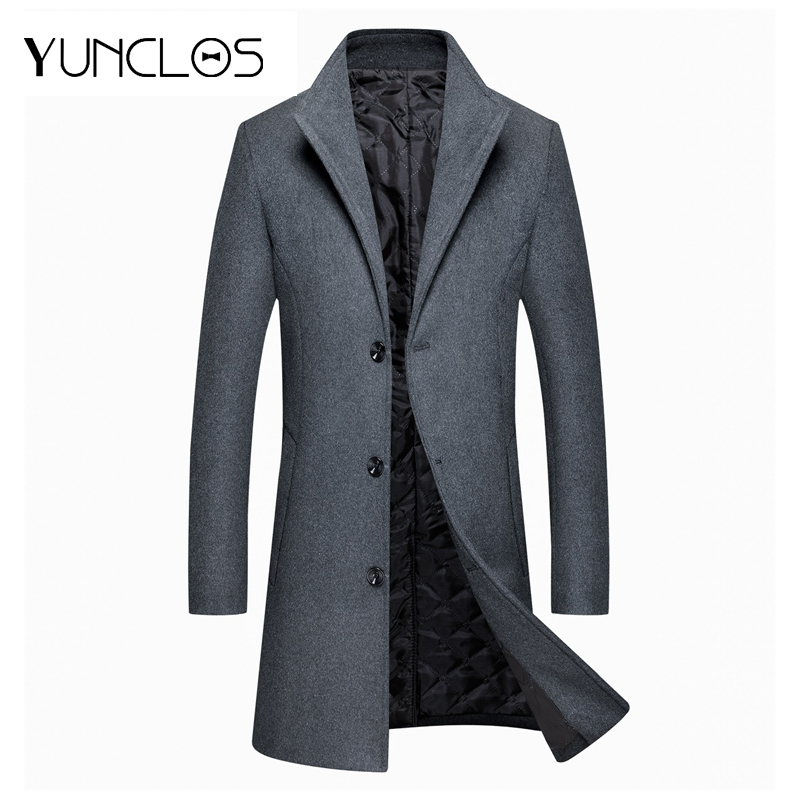 Yunclos Men's Solid Color Coat For Spring/Winter Jacket Asian Size Casual Slim Jacket Durable Without Deformation Overcoat