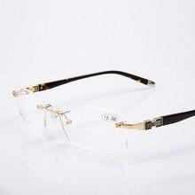 Gafas de lectura de aleación de titanio para hombre, lentes de estilo masculino sin montura, Anti rayos azules, cuadradas de moda, 1,59 unidades