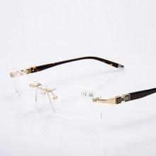 Randlose Männer Stil Titan Legierung Anti Blue Ray Lesebrille Fashion Square Qualität 1,59 PC Presbyopie Brille Rahmen für Männer